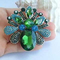 2.56 ιντσών χρυσό-Ήχος μπλε πράσινο rhinestone κρύσταλλο λουλούδι κρεμαστό κόσμημα καρφίτσα στολίδια τέχνης