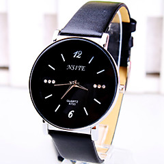 Men's Business Simple Round Diamond Dial PC Movement Leather Strap Fashion Quartz Watch (Assorted Colors)