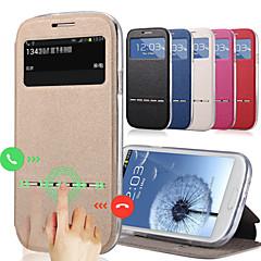 kuuma suosittu supistui muoti ikkuna flip nahkakotelo Samsung Galaxy S4 i9500 älykästä liukuva vastaus jalustalla