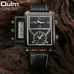 oulm® män mode militären titta på tre tids analog&digital display läderband