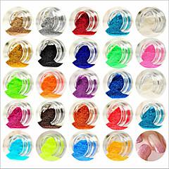 손톱 장식 24PCS 혼합 색상 작은 섬세한 네일 아트 반짝이 가루 네일 아트 호일 스트립 분말 arylic 분말