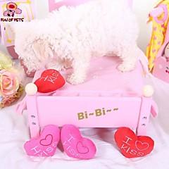 개 반려동물 장난감 씹는 장난감 / 플러시 장난감 찍찍 소리를 내다 / Heart 레드 / 로즈 직물