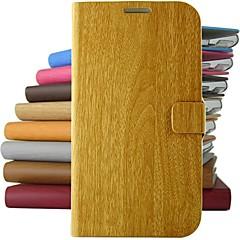 For Samsung Galaxy etui Med stativ Etui Heldækkende Etui Imiteret træ Kunstlæder for Samsung S5 S4 Mini S4 S3