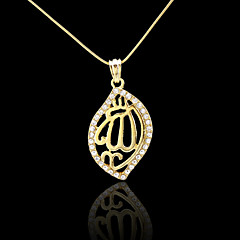 18K Real Gold Plated Allah Muslim Islamic Zircon Pendant 2.4*4.9CM
