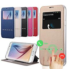 nouveau cas en cuir flip vue de la fenêtre pour Samsung Galaxy S6 g9200 smart coulissant cuir réponse d'appel couverture de TPU clair