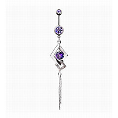 Fashion Unisex Medical Cold Steel/Crystal/Zircon/Silver Plated Navel & Bell Button Rings Daily/Casual/Sports
