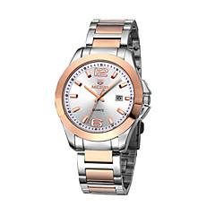Mens  Calendar Luminous Disc Stainless Steel Strap Quartz Watch