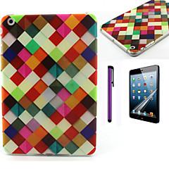 Colorful Lattice Pattern TPU Soft Back Cover Case for iPad Mini 3/iPad Mini 2/iPad Mini