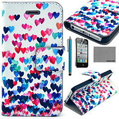 COCO FUN® Colorful Heart Pattern PU Leather Case with Screen Protector and USB Cable and Stylus for iPhone 4/4S