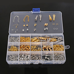 beadia 1set smykker fund karabinlås&endedæksel&hop ringe&krympe perler&forlængelse kæde (aprx 800pcs)