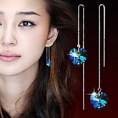 WH  925 Silver Long Heart Drop Earring