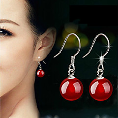 Earring Drop Earrings Jewelry Women Silver Plated 2pcs Black / Red