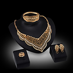 Lucky Doll Women's Vintage 18K Gold Plated Zirconia Tassel Necklace & Earrings & Bracelet & Ring Jewelry Sets