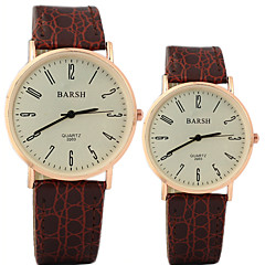 Couple's Simple and Casual Round Dial Belt Fashion Quartz Watches