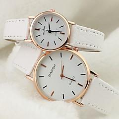 Paar Modeuhr Quartz PU Band Armbanduhr Schwarz / Weiß / Braun