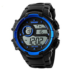 Hombre Reloj Deportivo Reloj de Pulsera Digital LCD Calendario Cronógrafo Resistente al Agua alarma Reloj Deportivo Caucho Banda Negro