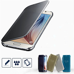 PU Leather + PC Official Clear View Mirror Screen Flip Smart Case For Samsung Galaxy S6/S6 Edge/S6 Edge Plus