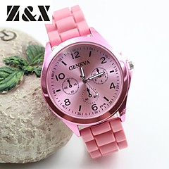 Dames Modieus horloge Kwarts Silicone Band Zwart / Wit / Blauw / Rood / Bruin / roze Merk-