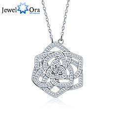 """novos acessórios de prata esterlina 925 """"flor"""" mulheres colares cúbicos zircônia&pingentes"""