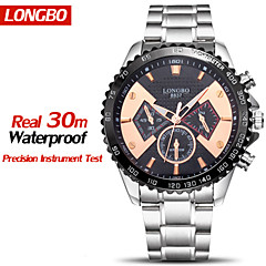 longbo® tuotemerkin kellot vedenpitävä koko teräs muoti rento kvartsi kellot miesten ylellisyyttä uros rannekellot Chock