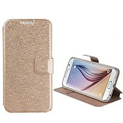 hög kvalitet siden konsistens PU läder skal till Samsung Galaxy S4 / s5 / S6 / S6 kant (blandade färger)