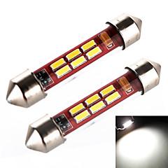 yobo 3W 240lm Girlande 41mm 6 * 4014 Rohrhülse weißes Licht für Auto-Lenk Lampe / Leselampe (2 Stück / DC 12-24V)