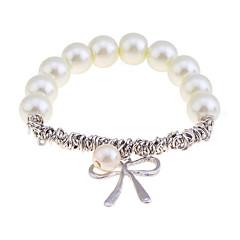 Korean Fashion Pearl Bowknot Pendant Alloy  Bracelet