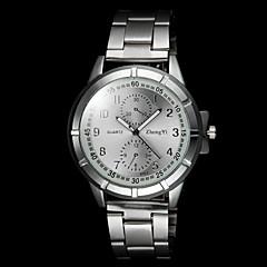 män casual silverlegering kvarts armbandsur