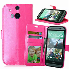 For HTC Case Wallet / Card Holder / with Stand / Flip Case Full Body Case Solid Color Hard PU Leather HTC