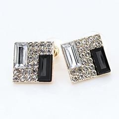 여성의 한국어 올 고귀한 검은 색과 흰색 상자 다이아몬드 earringse549 반짝