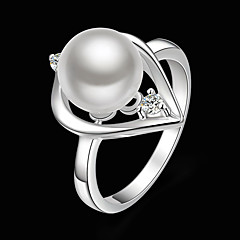 Statement Rings Brass Pearl Cubic Zirconia Silver Plated Simulated Diamond Fashion White Jewelry Party 1pc