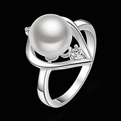 Εντυπωσιακά Δαχτυλίδια Μαργαριτάρι Cubic Zirconia Επάργυρο απομίμηση διαμαντιών Μοντέρνα Λευκό Κοσμήματα Πάρτι 1pc