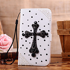 Handmade Diamond Cross PU Leather Full Body Case with Kickstand for Samsung Galaxy S3/S4/S5/S5 mini/S6/S6 Edge