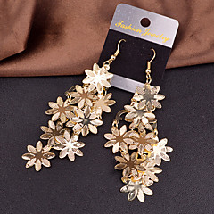 Earring Flower Drop Earrings Jewelry Women Wedding / Party / Daily / Casual Alloy 2pcs Gold / Silver