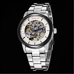 Masculino Relógio Esqueleto Automático - da corda automáticamente Aço Inoxidável Banda Relógio de Pulso Branco