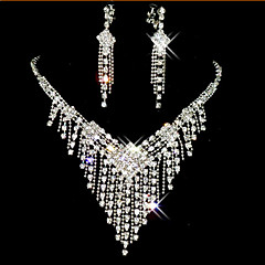 Lucky Doll Women's All Matching 925 Silver Plated Zirconia Long Tassel Necklace & Earrings Jewelry Sets