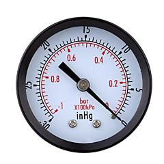 0 ~ 0 ~ -1bar -30inhg Mini vacío de aire de línea manómetro metros medidor de presión del manómetro de vacío doble escala