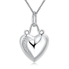 Γυναικεία Κολιέ Τσόκερ Κρεμαστά Κολιέ Κολιέ Δήλωση Ασήμι Στερλίνας Heart Shape Καρδιά Μοντέρνα Λευκό ΚοσμήματαΓάμου Πάρτι Καθημερινά