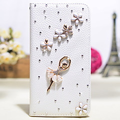 Handmade Diamond Ballet Girl PU Leather Full Body Case with Kickstand for Samsung Galaxy Note 2/3/4/5