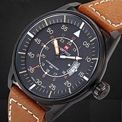 Masculino Relógio Militar Quartzo Japonês Calendário / Impermeável Couro Banda Relógio de Pulso Preta / Marrom