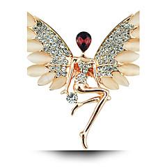 enkeli tyttö kristalli opaali rintakoru siivet