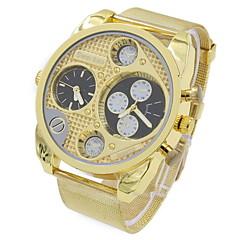 Men's Military Fashion Dual Time Zones Gold Steel Quartz Watch