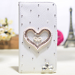 Handmade Diamond Love PU Leather Full Body Case with Kickstand for Samsung Galaxy Note 2/3/4/5