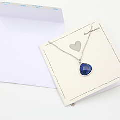 Fashion Women Semi-Precious Pendant Necklace With Blank Wish Card