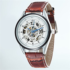 Men's Korean Business Hollow Full Automatic Round Dial Leather Band Machine Analog Wrist Watch(Assorted Color)