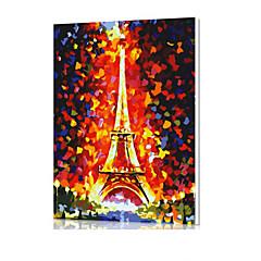 DIY digital oljemaleri ramme familiemoro maleri alt av meg selv Eiffeltårnet x5041