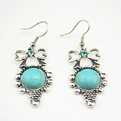 Vintage Look Antique Silver Plated Crystal Bowknot Amethyst Turquoise Tiger Stone Drop Earring(1Pair)
