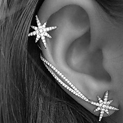 Snowflake Star Asymmetry Alloy / Rhinestone Earring Ear Cuffs   2pcs