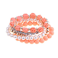 Korean Opaque Candy Beads With Rose Flowers Pearl Bracelet Set
