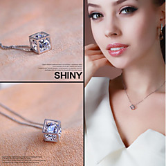 925 Fine Silver  AAA Zircon Pendant Necklace ,Tiny Necklace